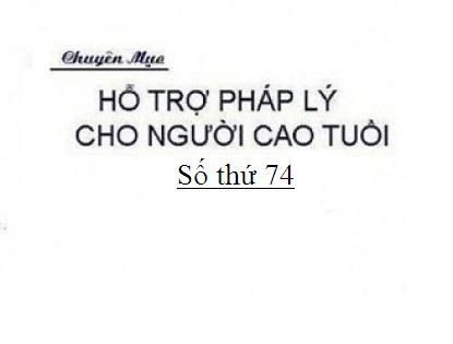Tổ chức Hội Người cao tuổi cơ sở theo quy định của pháp luật